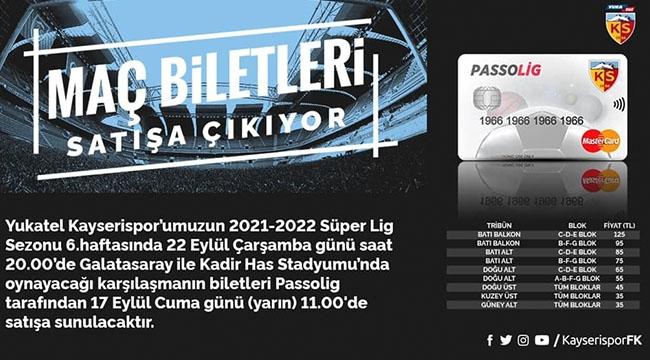 KAYSERİSPOR - GALATASARAY MAÇININ BİLET FİYATLARI